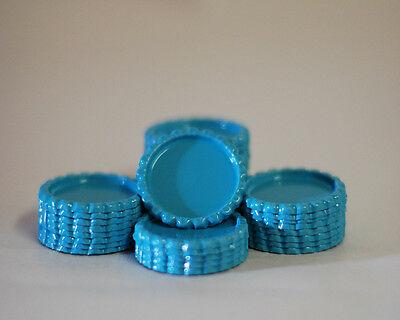 Pack of 100 Flat Light Blue Bottle Caps Craft & 100 Epoxy Clear Resin Domes/Dots