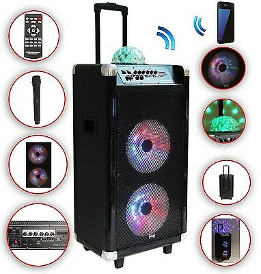 Karaoke Anlage mobile PA Lautsprecherbox Trolley USB SD MP3 Wirless LED DMS®