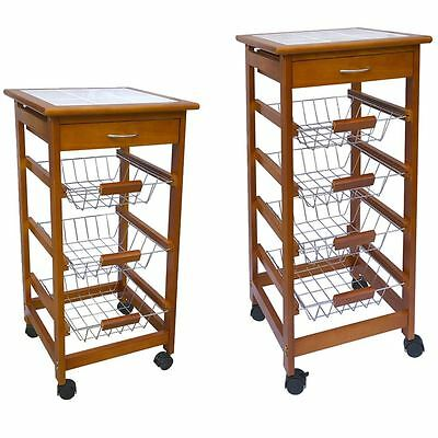 Tier Kitchen Trolley Wood Cart Basket Storage Drawer Tile Top By Home Discount