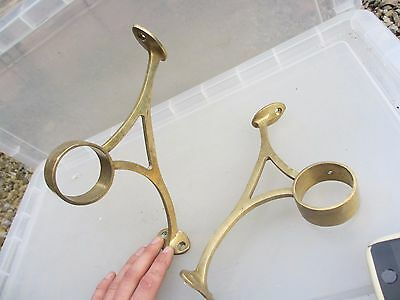 Vintage Brass Rail Brackets Holder Bar Feet Rail Hand Pair Architectural Antique