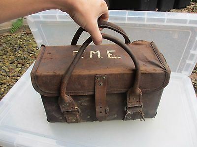 Vintage Leather Electricians Bag Mining Sparkies T.M.E Old