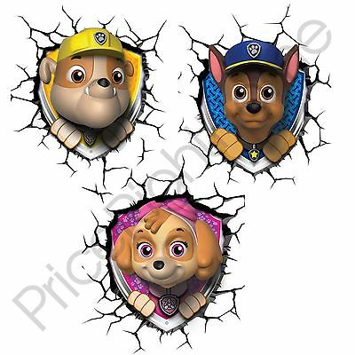 Paw Patrol 3D Led Wall Lights - Skye, Rubble And Chase Childrens Room Light New