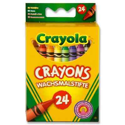 Childrens's 24 Assorted Colours Crayola Crayons Colouring Drawing Wax Pencils