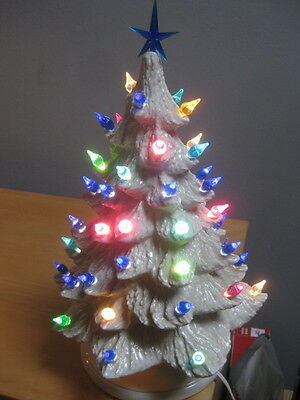 White Light Up Ceramic Christmas Tree Multi Color Bulbs Star 13 Inches Tall