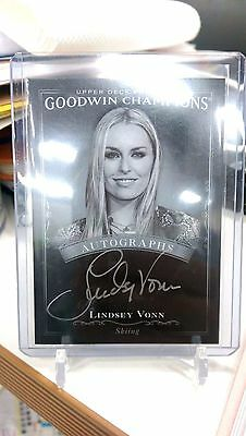 2016 UD Goodwin Champions [ Lindsey Vonn ] Black & White Auto Autographs Skiing