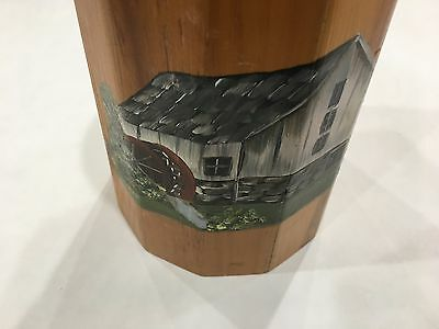 Hand Made Wooden Butter Churn Small Painted Water Wheel House