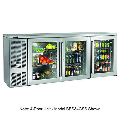 """Perlick BBS108GS-S 108"""" Four Section Refrigerated Back Bar Cabinet W/ Glass Door"""