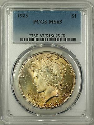 1923 Peace Silver Dollar $1 Coin PCGS MS-63 Toned (2d)