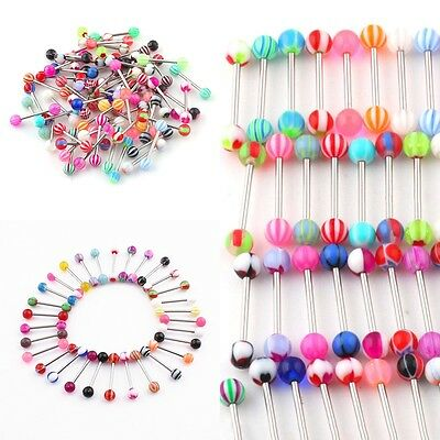 10-100Pcs Tongue Bars Surgical Steel Barbell Rings Ball Body Piercing Jewellery