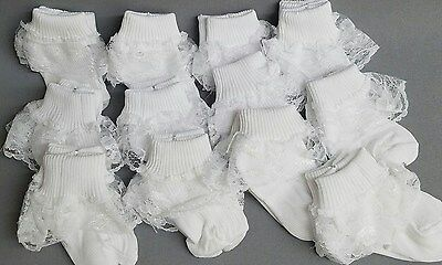 NEW Girls S304 12 pairs White WEDDING PAGEANT Baptism RUFFLE lace school socks