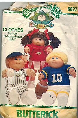 6827 Vintage Butterick Sewing Pattern Craft Cabbage Patch Doll Clothes Outfits