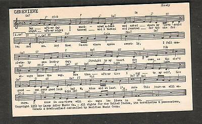 Tune-Dex performing rights info card- Genevieve- William Engvick Larry Adler