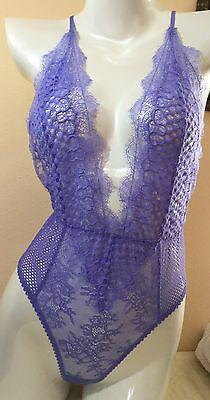 NWT VICTORIAS SECRET Lingerie Very Sexy Limited Edtn Fishnet Teddy M Purple N788