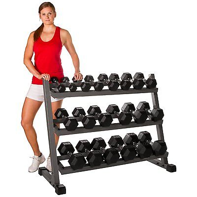 Iron Horizontal Dumbbell Rack Weight Storage Workout Fitness Exercise Gym Gray