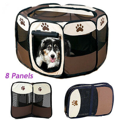 Portable Folding Pet Tent Playpen Dog Cat Fence Puppy Kennel Exercise House UK
