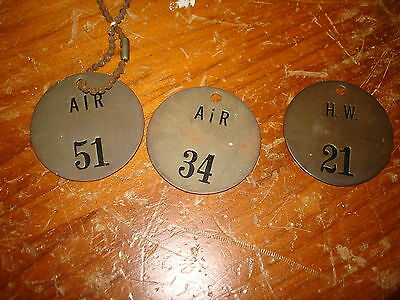 3 Antique Brass Valve Tags
