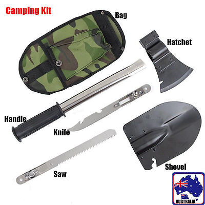 Camping Mountaineering Survival Tools 4 In 1 Knife Shovel Axe Saw Cut TSHOV 9944