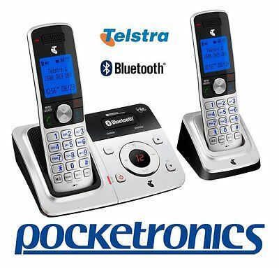 Telstra 9950 TWIN Bluetooth handsfree cordless phone answer machine 2 handset RE