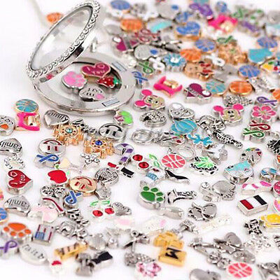 Wholesale 30pcs Mix Charms lots Floating Living Memory Locket Bracelets Cute