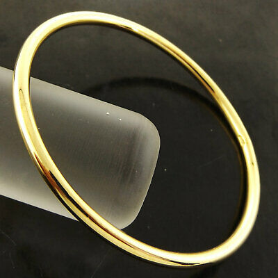 A794 Genuine Real 18K Yellow G/f Gold Ladies Heavy Solid Cuff Bangle Bracelet