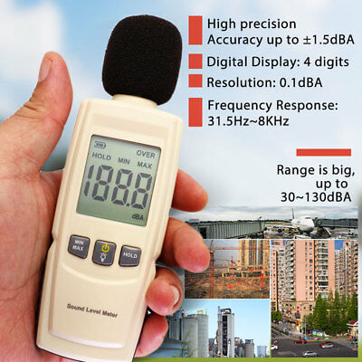 Digital Sound Decibel Meter Pressure Noise Level Tester Measurement 30~130dB LCD
