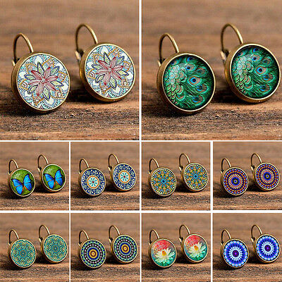 Retro Fashion Women Elegant Crystal Rhinestone Ear Stud Glass Gemstone Earrings