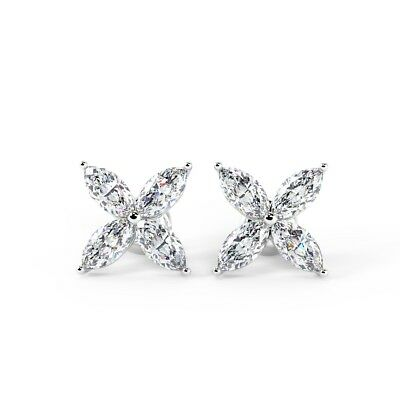 Platinum 0.60 Carat Marquise Diamond Stud Earrings