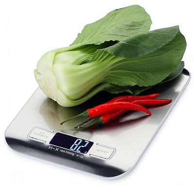 10kg/1g Large LCD Stainless Steel Digital Portable Electronic Kitchen Scales UK