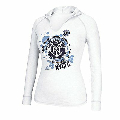 5344d3e79 (LARGE) Womens Ladies Adidas MLS NY New York FC Hooded Long Sleeve Tee Shirt