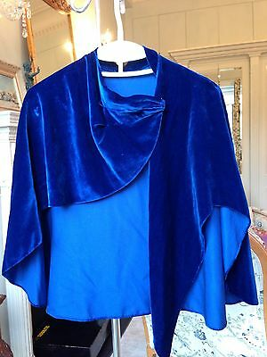 Antique 1920 Cape/shawl Silk Velours Blue Small  Very Good .Evening ,Costume