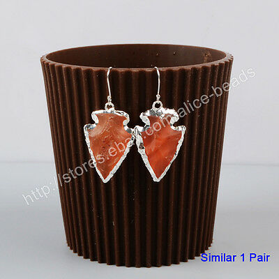 1Pair 925 Sterling Silver Rough Arrowhead Natural Red Chalcedony Earrings HSS031