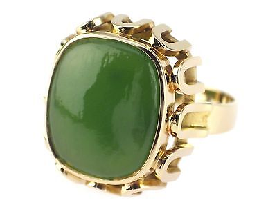 Art Deco 14 K 585 Gelb Gold Chinesiche Jade Damen Herren Ring