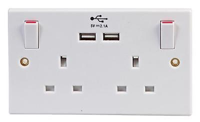 Double White Wall Faceplate 2 Gang Plug Socket 13A with 2 USB Outlets Ports 2.1A