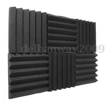 24x Acoustic Foam Wedge Panel Tiles Studio Soundproof Absorption Room Treatment