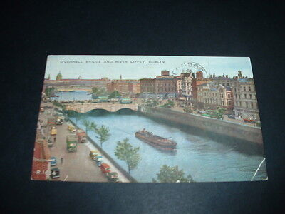 IRISH POSTCARD  o connell bridge and river liffey dublin EARLY 1900s