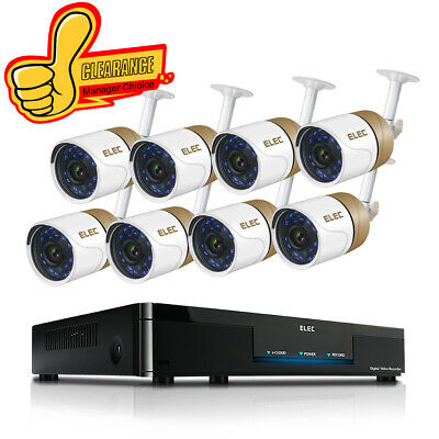 ELEC 8CH 1080P HDMI DVR 1500TVL CCTV Video Recorder Home Security Camera System