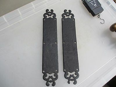 Cast Iron Finger Plates Push Door Handles Pair Forged Gothic Black Rustic Old