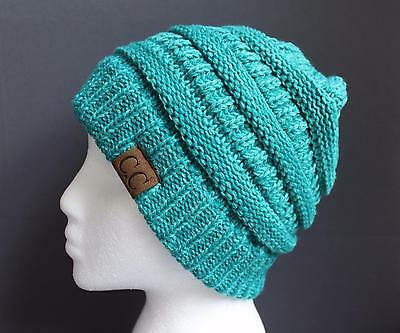 6773dea9627 Teal Green ski hat chunky thick knit slouch cap beanie winter crochet hat  marled