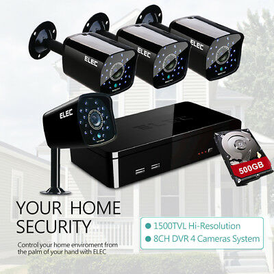 ELEC 8CH DVR HDMI VIDEO HD 1500TVL 4Cams Home Security CCTV Surveillance System