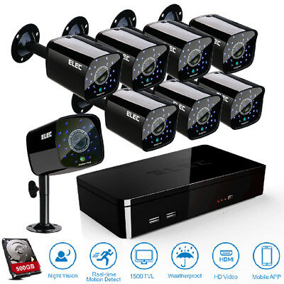 ELEC 8CH HDMI DVR 1500TVL 4Cams In/Outdoor CCTV Security Camera System 1.0MP