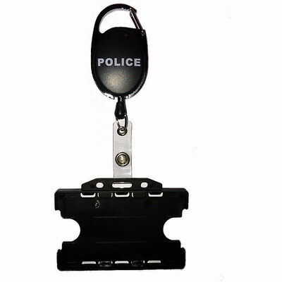 Police Badge Reel & Double ID Card Holder Black