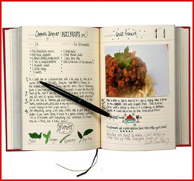 Kitchen Cooking My Family Cookbook SUCK UK - Recipe Notebook, Red Present Gift