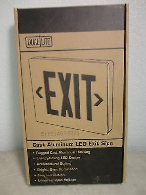 NIB Dual Lite Cast Aluminum LED Emergency EXIT SIGN SEDGWNE Green Letters