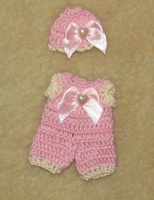 "Crochet Romper & Hat fits Small 4"" OOAK Polymer, Silicone Bisque Babies #535"