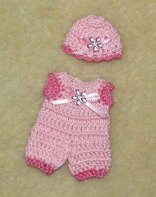 "Crochet Romper & Hat fits Small 4"" OOAK Polymer, Silicone Bisque Babies #536"