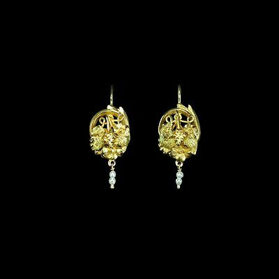Delicious Art Nouveau 12k yellow gold earrings, seed pearl dangles M-F