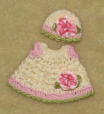 "Crochet Dress & Hat fits 4.5"" OOAK Polymer, Silicone Bisque Babies #557"