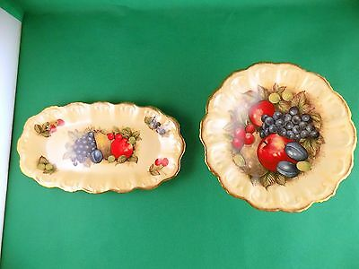 Queens Antique Fruit Series Footed Serving Dish and Oval Serving Dish