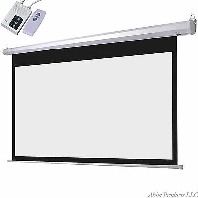 "100"" Motorized Power Remote Controlled TV Movie Theater Video Projector Screen"