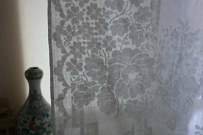 Antique French c1900 off white madras lace curtain panel chateau to finish marks